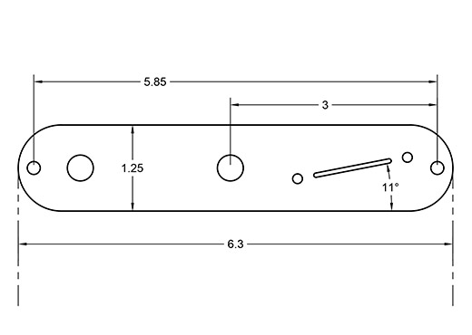 Angled Tele plate dimensions