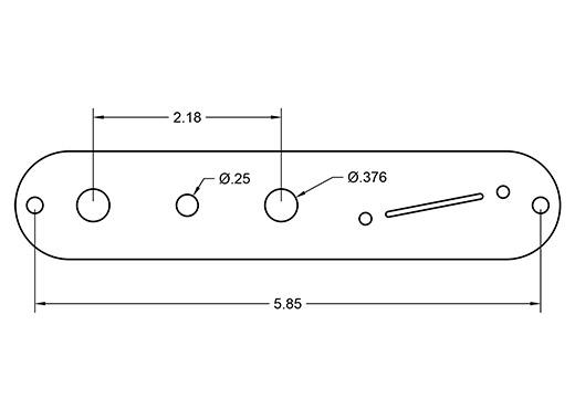Angled Mini-Switch Tele plate dimensions