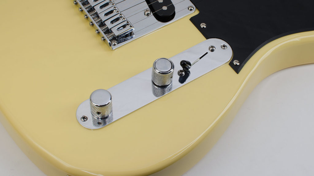Angled S1 Telecaster Control Plate mounted on a Tele