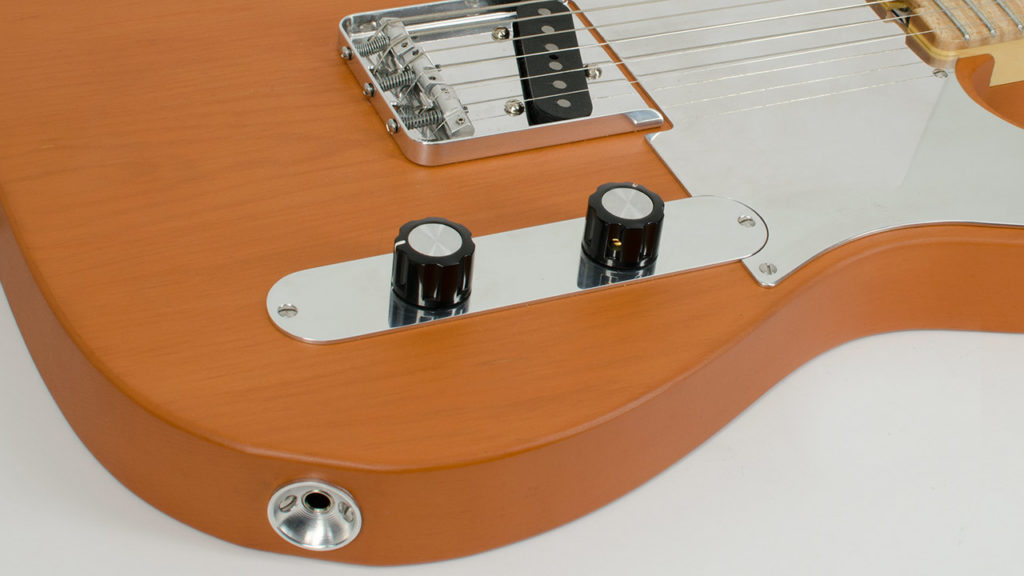 OCD Telecaster Control Plate mounted on a RockRabbit Basic Bitch Guitar