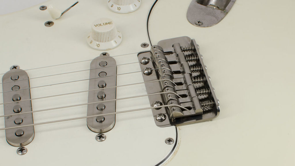 RockRabbit Vintage Improved Titanium Tremolo on a Stratocaster Guitar