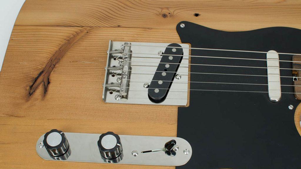 Vintage Titanium Telecaster Bridge mounted on Tele guitar