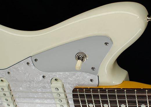 3 way toggle switch on Fender Jaguar guitar using a custom RockRabbit mounting plate