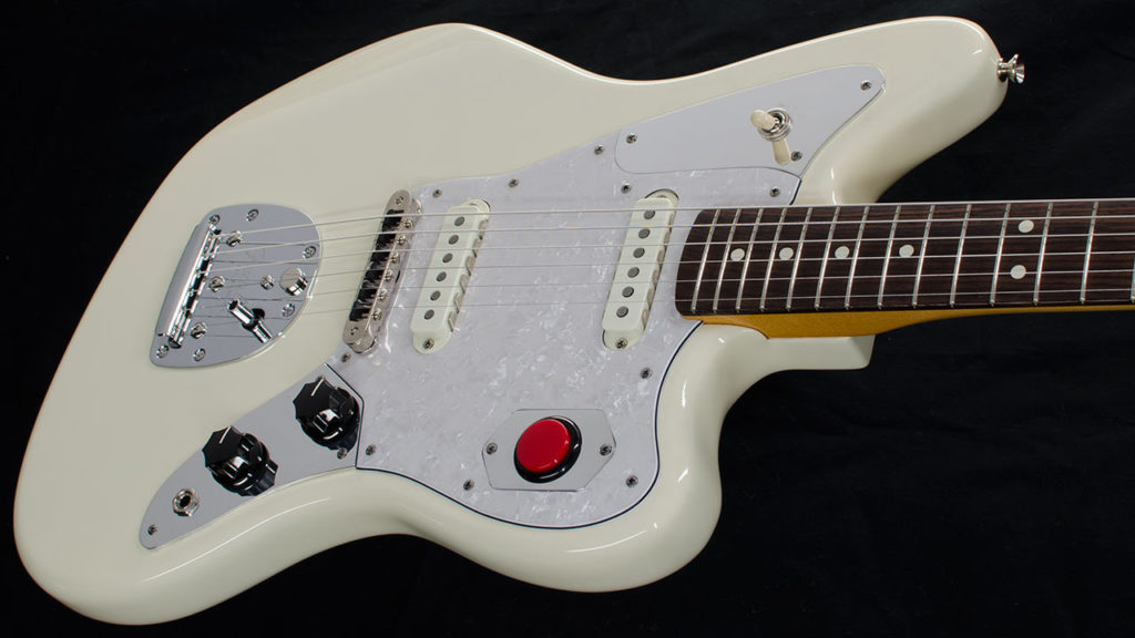 Fender Jaguar guitar with a set of RockRabbit custom Toggle switch and Kill switch plates