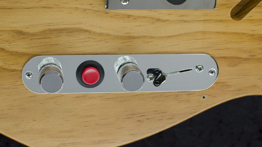 Angle Kill Switch Control Plate mounted on a Telecaster Guitar