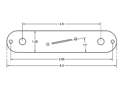 Center Angle Tele plate dimensions