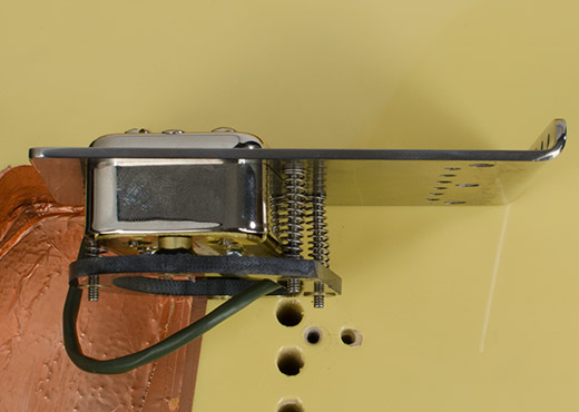 Side view of RockRabbit Teletron Bridge with installed Filtertron pickup