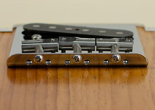 Toploading String holes on Telecaster Bridge plate made of Titanium by RockRabbit