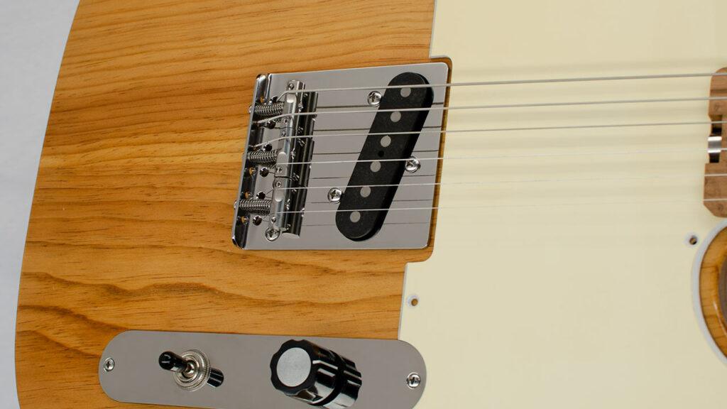 Titanium DualLoader Tele Bridge by RockRabbit mounted on Telecaster Guitar